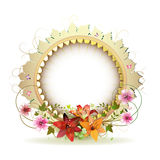 Circular floral frame. With lilies and gold decoration Stock Photos
