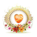 Circular floral frame. With heart, lilies and gold decoration for Valentine's day Stock Photo