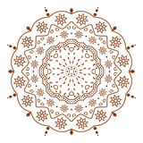 Circular floral ornament. Circular floral brown ornament. Snowflake. round ornament decorative element, geometric Hand drawn fantasy abstract background royalty free illustration