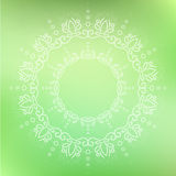 Circular floral ornate. Circular white floral handdrawn ornate mandala, green background Stock Photography
