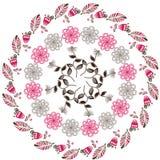 Circular  floral pattern,  illustration. Cute temp Royalty Free Stock Photo