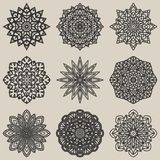 Circular floral pattern set Royalty Free Stock Photos