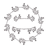 Circular form branchs with flowers inside Royalty Free Stock Images