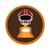 Circular frame with american football helmet and Trophy Cup Stock Photography