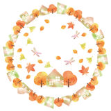 Circular frame of autumn town. Autumn of the residential area drawn with watercolor paint Royalty Free Stock Photo