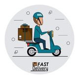 Circular frame background with fast delivery man scooter with packages. Vector illustration Royalty Free Stock Image