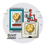 Circular frame background with fast delivery man scooter smartphone orders food. Vector illustration Stock Photography