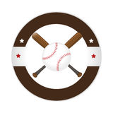 Circular frame with ball and baseball bat Stock Photos