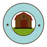 Circular frame with barn of two floors Stock Photography