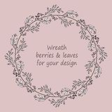 Circular frame with black and white hand drawn doodle branches and berries vector illustration