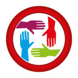 Circular frame with colorful hands teamwork icon design Royalty Free Stock Image