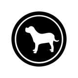 Circular frame with figure big dog animal. Illustration Royalty Free Stock Photography