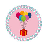 Circular frame with gift box with colored balloons Stock Images