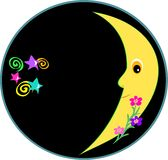 Circular Frame of a Glowing Moon, Spirals, Flowers Stock Photos
