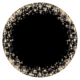 Circular frame with golden stars on the black background, sparkles golden symbols  - star glitter, stellar flare Stock Photography