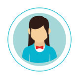Circular frame with half body woman with formal suit and bow tie Royalty Free Stock Photography