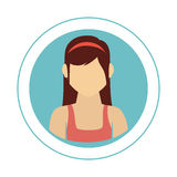 Circular frame with half body woman with shirt sleeveless Royalty Free Stock Photography
