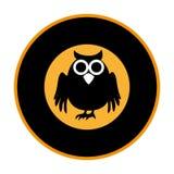 Circular frame with halloween owl Royalty Free Stock Photo