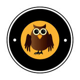 Circular frame with halloween owl Royalty Free Stock Images