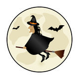 Circular frame with halloween witch and bat Stock Photography