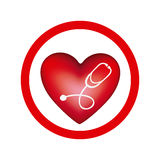 Circular frame with heart and stethoscope inside. Illustration Royalty Free Stock Photography