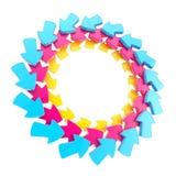 Circular frame made of arrows isolated Stock Photos