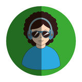 Circular frame of man with headset stereo Stock Images
