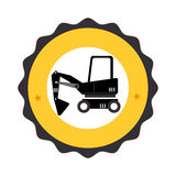 Circular frame with pictogram with forklift truck with forks Stock Image