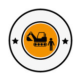 Circular frame with pictogram with forklift truck with forks Royalty Free Stock Photos
