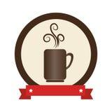 Circular frame with porcelain mug coffee with smoke aroma and ribbon Royalty Free Stock Image