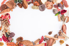Circular frame with potpourri stock photography