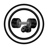 Circular frame with realistic silhouette set dumbbell with weight discs Royalty Free Stock Photo