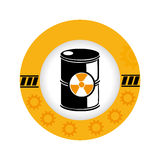 Circular frame with silhouette barrels with radioactive materials Stock Photo