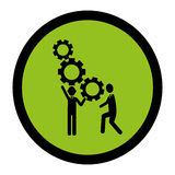 Circular frame with silhouette gear wheel icon and men figure Stock Photo