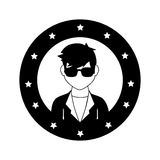 Circular frame with silhouette rock star man Stock Photo
