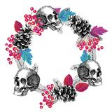 Circular frame of skull cone rowanberry leaves Royalty Free Stock Photos