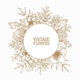 Circular frame or wreath decorated with blooming wild meadow flowers and herbaceous flowering plants hand drawn with. Contour lines on white background. Spring Royalty Free Stock Photography