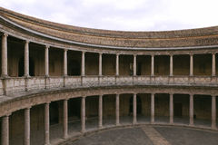 The circular gallery of the palace of Charles the fifth, Alhambra, Granada, Spain Royalty Free Stock Photography