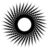 Circular geometric black and white element. Radial shape with sp. Inning effect - Royalty free vector illustration stock illustration