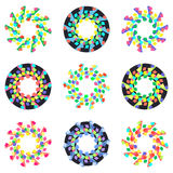 Circular geometric mosaic patterns. Vector  on white background Royalty Free Stock Photos