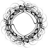 Circular geometric motif. Abstract grayscale op-art element. Royalty free vector illustration Stock Images