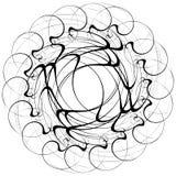 Circular geometric motif. Abstract grayscale op-art element. Royalty free vector illustration vector illustration