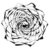 Circular geometric motif. Abstract grayscale op-art element Royalty Free Stock Photo