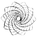 Circular geometric motif. Abstract grayscale op-art element Stock Images