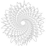 Circular geometric motif. Abstract grayscale op-art element. Royalty free vector illustration Stock Photos