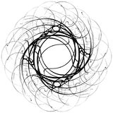 Circular geometric motif. Abstract grayscale op-art element. Royalty free vector illustration Stock Photo