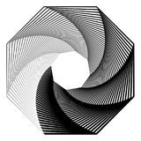 Circular geometric motif. Abstract grayscale op-art element Royalty Free Stock Images