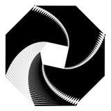 Circular geometric motif. Abstract grayscale op-art element Royalty Free Stock Photos