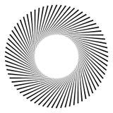 Circular geometric motif. Abstract grayscale op-art element Stock Photo