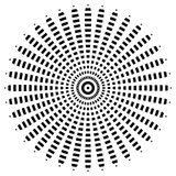 Circular geometric motif. Abstract grayscale op-art element Royalty Free Stock Image